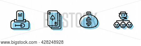 Set Line Money Bag, Grave With Tombstone, Playing Cards And Mafia Icon. Vector