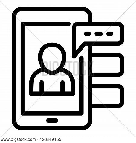 Interactive Learning Smartphone Chat Icon. Outline Interactive Learning Smartphone Chat Vector Icon