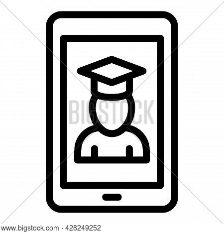 Interactive Learning Online Graduated Icon. Outline Interactive Learning Online Graduated Vector Ico