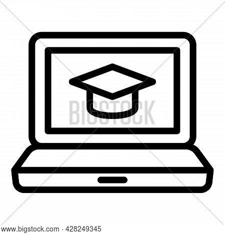 Present Online Graduation Icon. Outline Present Online Graduation Vector Icon For Web Design Isolate