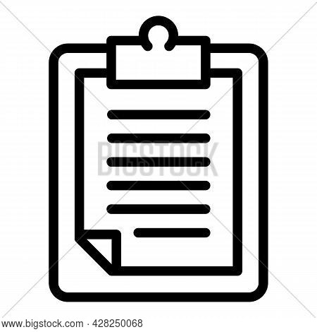 Fitness Clipboard Icon. Outline Fitness Clipboard Vector Icon For Web Design Isolated On White Backg