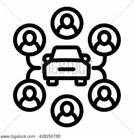 Scheme Car Sharing Icon. Outline Scheme Car Sharing Vector Icon For Web Design Isolated On White Bac