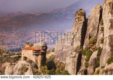 The Monastery Of Rousanou St. Barbarain In Meteora Rock Formation, Thessaly Greece. Greek Destinatio