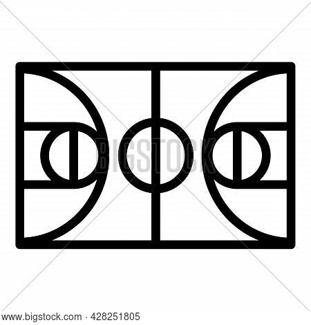 Basketball Field Icon. Outline Basketball Field Vector Icon For Web Design Isolated On White Backgro