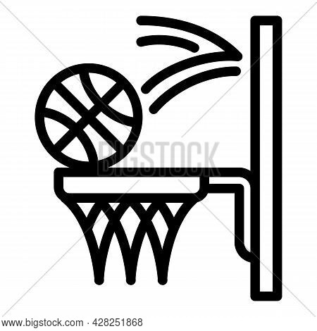 Basketball Throw Icon. Outline Basketball Throw Vector Icon For Web Design Isolated On White Backgro