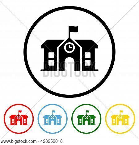 School Building Icon Vector Illustration Design Element With Four Color Variations. Vector Illustrat
