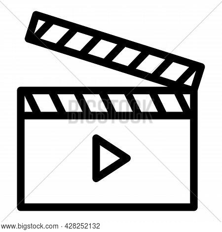 Movie Clapper Icon. Outline Movie Clapper Vector Icon For Web Design Isolated On White Background