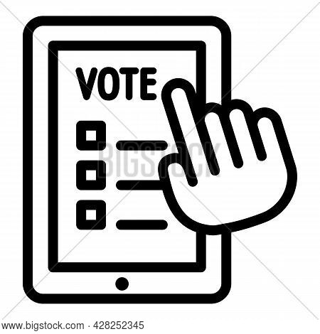 Poll Online Vote Icon. Outline Poll Online Vote Vector Icon For Web Design Isolated On White Backgro