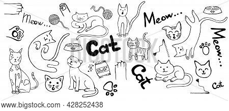 A Set Of Doodles With Cats And Accessories. Black Contours Of Stylized Kittens