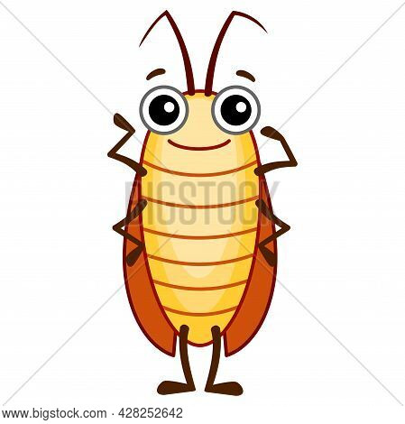 Funny Cockroach. Insect In A Cartoon Style