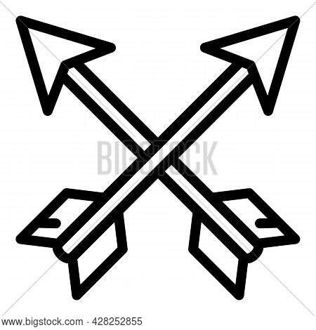 Archer Arrows Icon. Outline Archer Arrows Vector Icon For Web Design Isolated On White Background