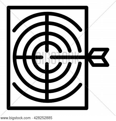 Archer Paper Target Icon. Outline Archer Paper Target Vector Icon For Web Design Isolated On White B