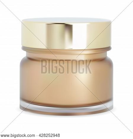 Cosmetic Powder Jar. Face Cream Bottle, Mackeup Box. Glossy Glass Realistic Jar With Gold Glossy Met
