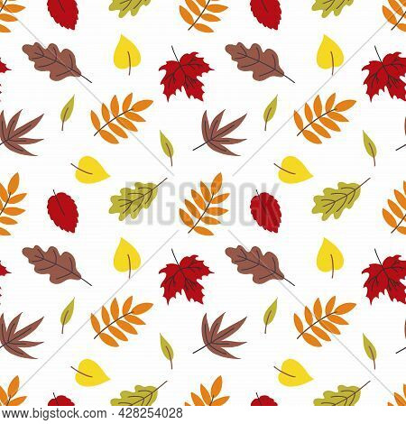 Seamless Background With Fall Leaves. Wallpaper For Sewing Clothes, Printing On Fabric And Packaging