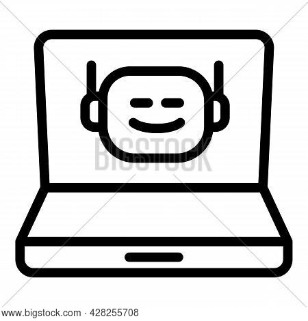 Laptop Chatbot Icon. Outline Laptop Chatbot Vector Icon For Web Design Isolated On White Background