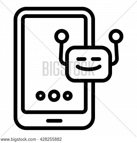 Notification Chatbot Icon. Outline Notification Chatbot Vector Icon For Web Design Isolated On White