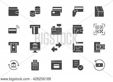 Finance Operations Simple Flat Icons. Vector Illustration With Minimal Icon - Banking, Credit Card,
