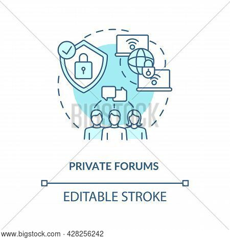 Private Forum Blue Concept Icon. Secure Chat. Closed Communication Channel. Messaging Software Abstr
