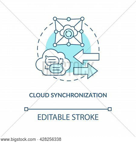 Cloud Synchronization Blue Concept Icon. Files Backup Online Service. Data Storage. Messaging Softwa