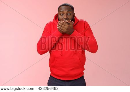 Shocked Gasping Surprised African-american Guy Overhear Stunning Rumour Press Palms Mouth Not Slip W