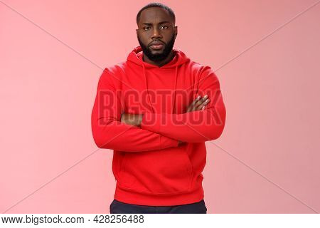Serious-looking Strong Black Guy Security Worker Cross Hands Chest Confident Bossy Pose Frowning Mak