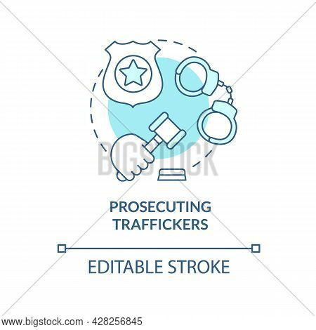 Prosecuting Smugglers Blue Concept Icon. Law Against Human Trade Crimes Abstract Idea Thin Line Illu