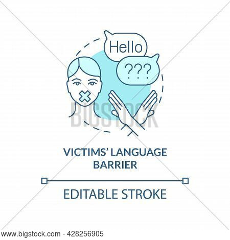 Victims Language Barrier Blue Concept Icon. Inability To Open Up After Exploitation Abstract Idea Th