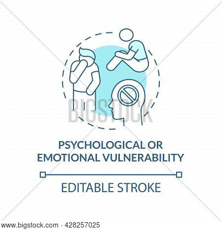 Psychological, Emotional Vulnerability Blue Concept Icon. Psychological Consequences Abstract Idea T