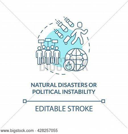 Natural Disasters Or Political Instability Blue Concept Icon. Reason Of Slavery And Trafficking Abst