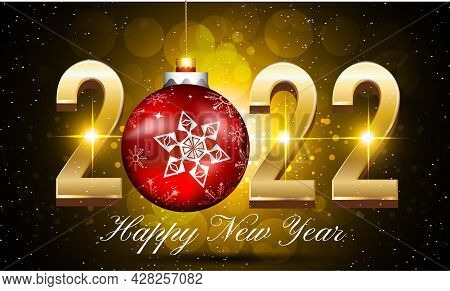 New Year 2022 Vector Background With Golden Text - 2022 Happy New Year Vector Illustration With Gold