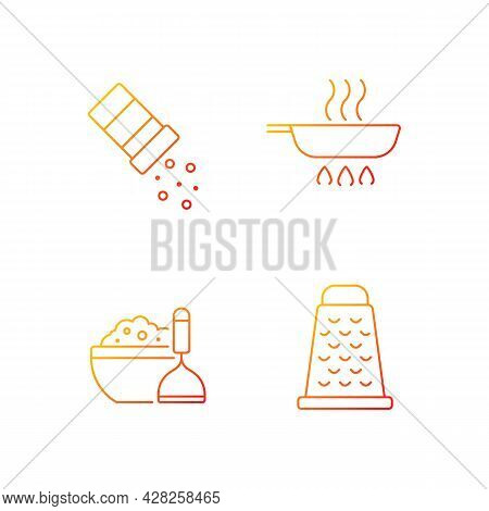 Home Cooking Gradient Linear Vector Icons Set. Sprinkle Salt. Frying Pan. Meal Instructions. Food Pr