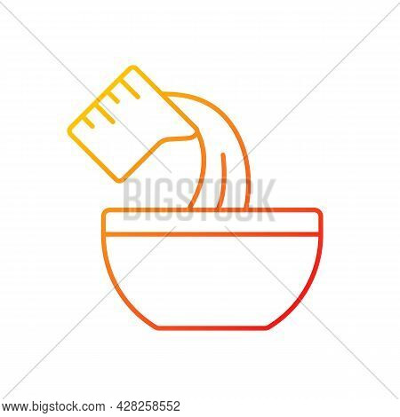 Pour Cooking Ingredient Gradient Linear Vector Icon. Adding Liquid To Bowl. Baking Process Step. Add