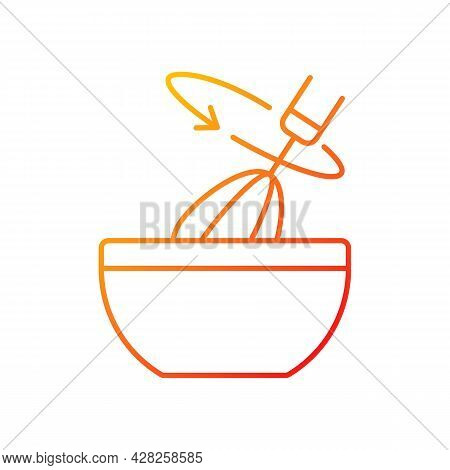 Stir Cooking Ingredient Gradient Linear Vector Icon. Whisking In Bowl As Recipe Step. Whipped Cream