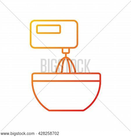 Mixer Gradient Linear Vector Icon. Beating Mixture Step In Cooking Instruction. Stir Ingredients Wit