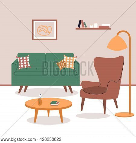 Interior Of Living Room With Stylish Comfy Furniture And Home Decorations In Hygge Style. Flat Color