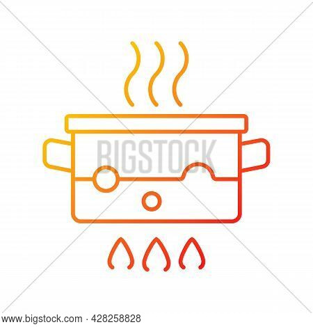 Boil For Cooking Gradient Linear Vector Icon. Simmering Water In Pot On Stove. Bubbling Liquid. Cook