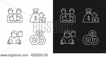 Taking Part In Lottery Linear Icons Set For Dark And Light Mode. Pooling Ticket Purchases. Lump-sum