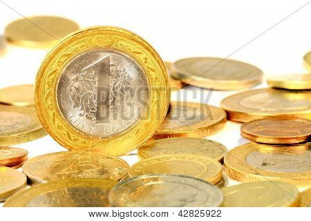 Coins over white background