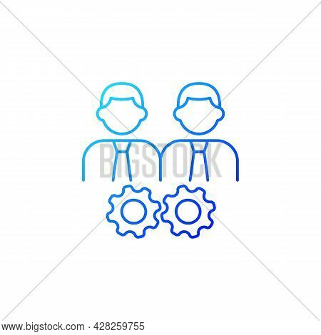 Collaboration Gradient Linear Vector Icon. Two Men And Gears. Achieve Goal Working Together. Coworke