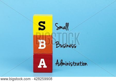 Colored Cubes With The Words Small Business Administration Or Sba. Business Concept