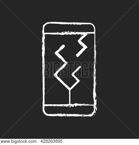 Screen Damage Chalk White Icon On Dark Background. Cracks All Over Mobile Phone Display. Shattered A
