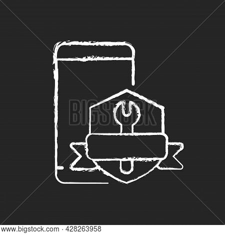 Phone Repair Warranty Chalk White Icon On Dark Background. Broken Phone Replacement And Renovate Ins