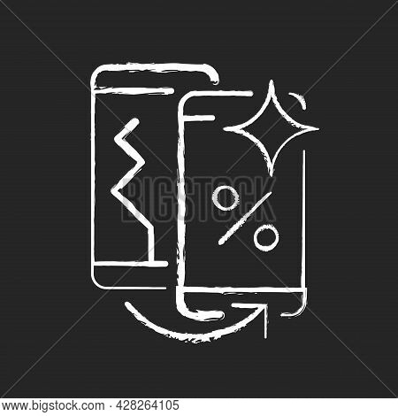 Old Phone Replacement Chalk White Icon On Dark Background. Old Malfunction Device Return. Mobile Pho