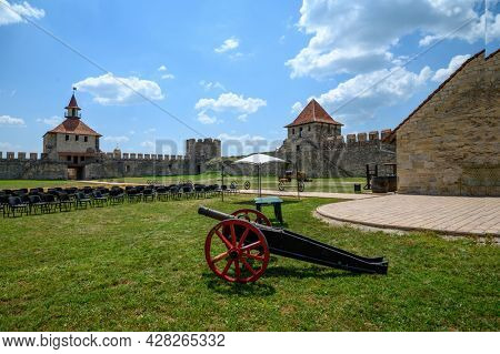 Entrance to medieval Turkish and Russian Bender fortress on Dniester river in Tighina or Bendery, Transnistria, Moldova
