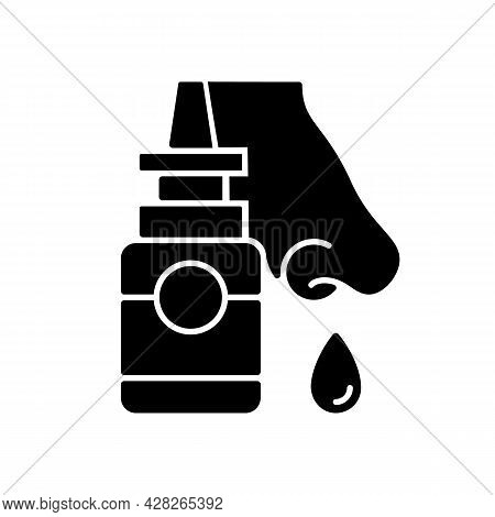 Nasal Spray Black Glyph Icon. Relieve Nasal Discomfort. Cold Relief. Treat Sinus Congestion. Anti-in
