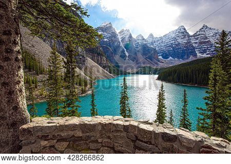 Canadian Rockies. Banff Park. Valley of the Ten Peaks. The water in the lake is of a beautiful azure color. Travel to northern Canada. One of the most beautiful lakes in the world - Moraine Lake