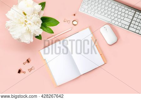 Empty Notebook For Writing Dreams And Ideas, With Different Stationery, And Big White Peony Flowers