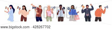 A Set Of Diverse People With Loudspeakers. Colored Flat Vector Illustrations Of Young Men And Women