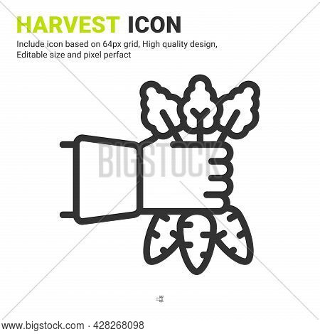 Harvest Icon Vector With Outline Style Isolated On White Background. Vector Illustration Crop Sign S