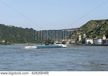 Loreley, Germany - 25 July 2021. A Large Barge On The River Rhine In Germany For The Transport Of Co